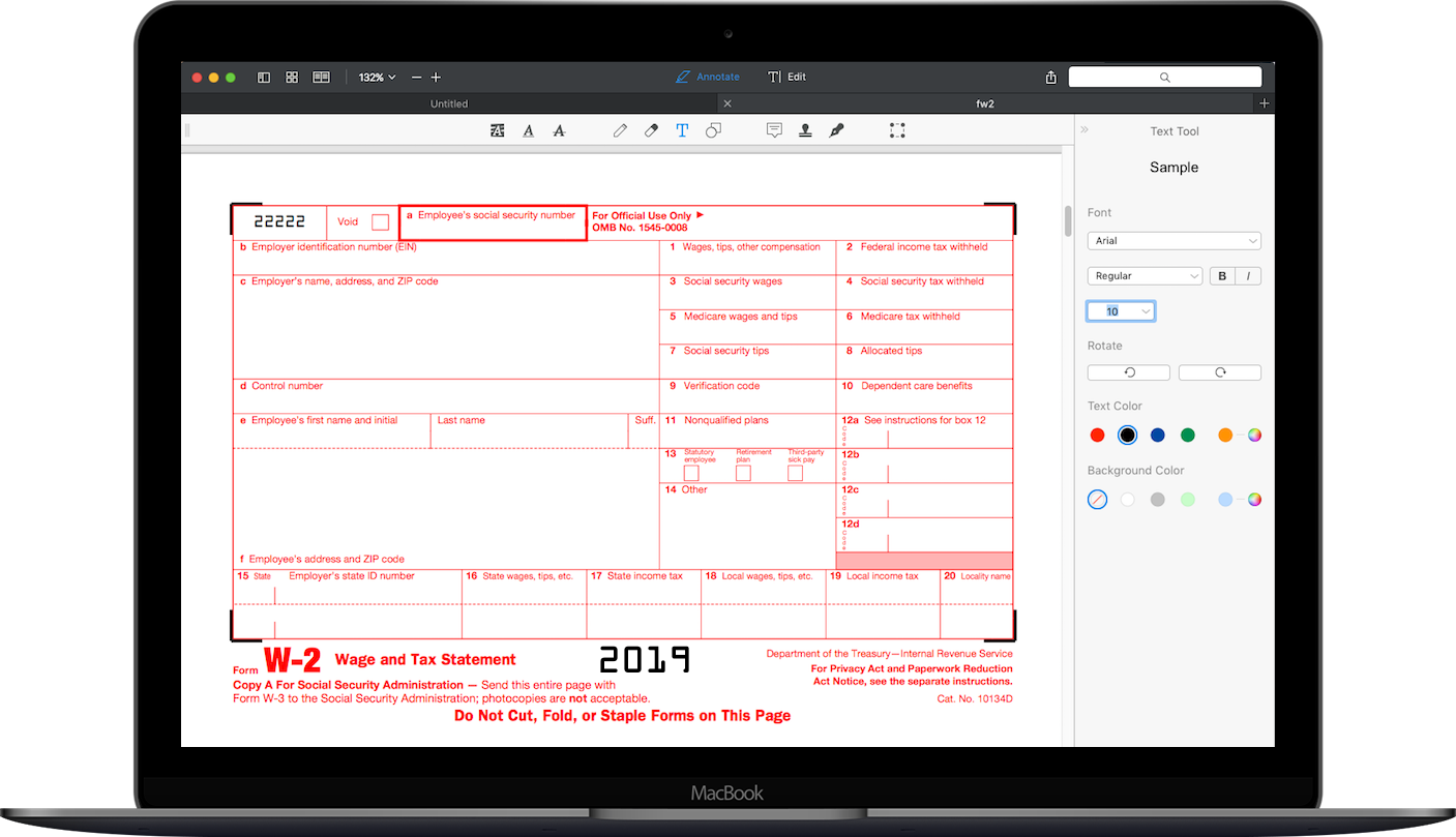 Form W-2 on MacBook