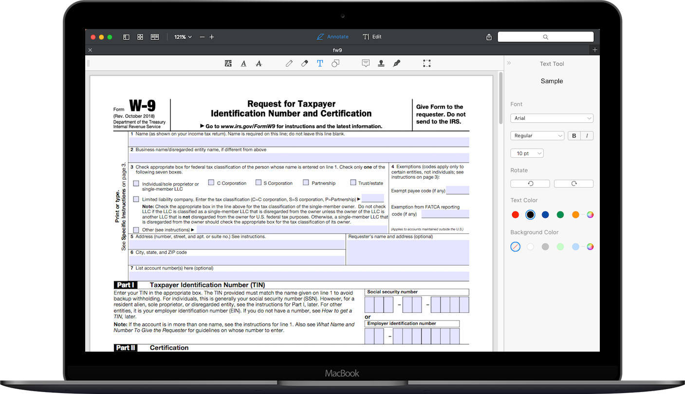 Form W-9 on MacBook