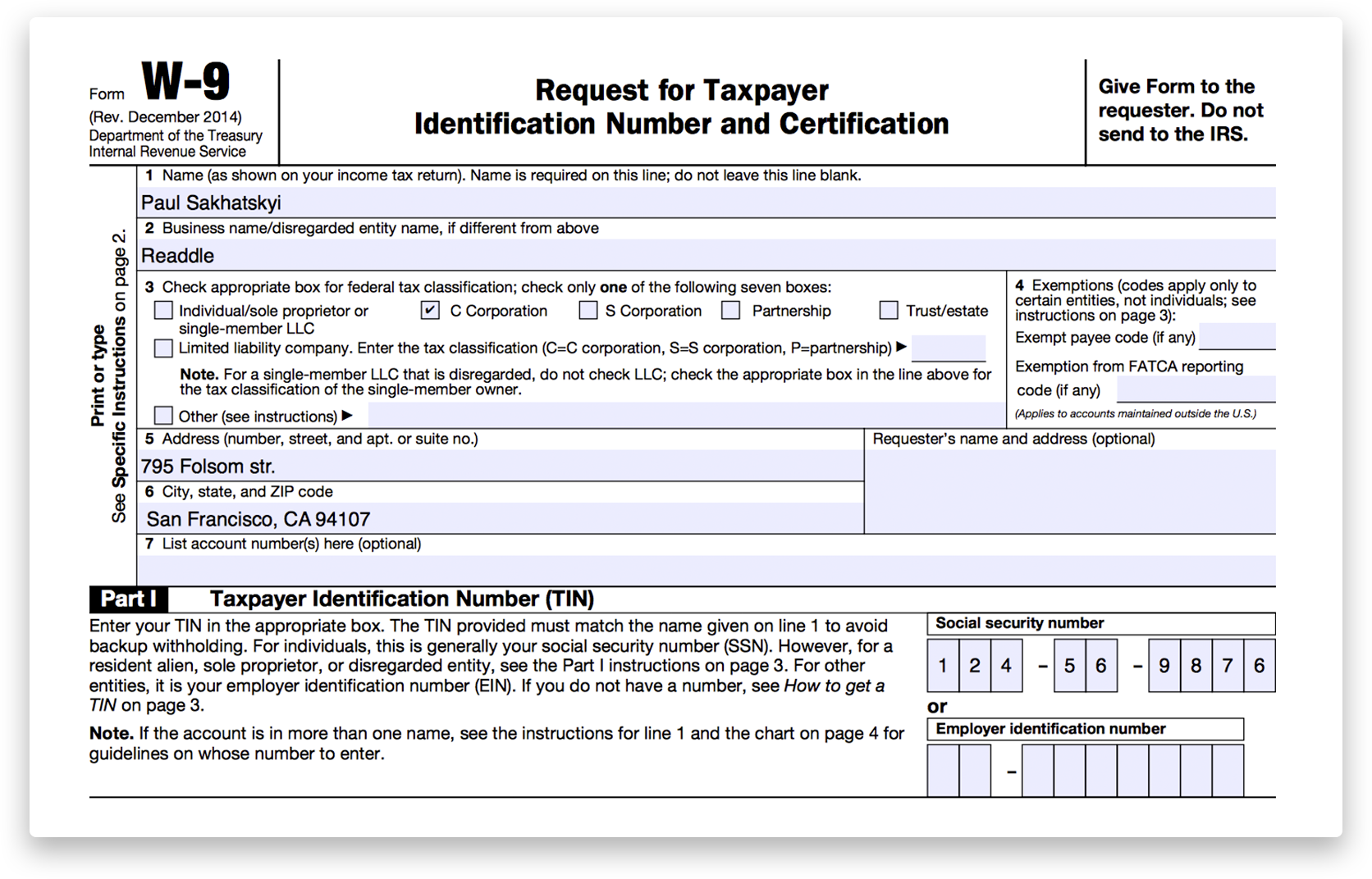 How to fill out irs form w 9 2014 2017 pdf expert part i enter either ssn or ein for sole proprietors they are interchangeable so you can use either one falaconquin